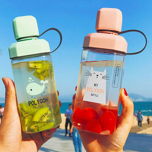 Transparent Cute Cartoon Plastic To-go Cup 420ml
