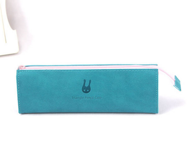 Solid Triangle PU Pen Pencil Case