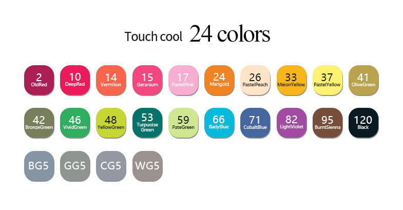 24/36/48/60/80pcs TOUCH FIVE Oily Ethyl Alcohol Dual Tip Mark Pen KINIYO Stationery