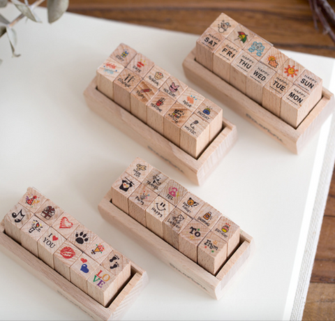 12pcs/set Diary Rubber Stamp for Scrapbooking