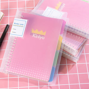 1 Piece Colorful PP Loose-leaf Spiral Notebook KINIYO Stationery