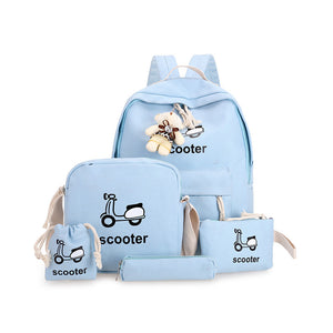 5pcs Blue Fashion Canvas Bag Set