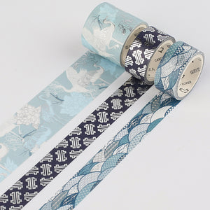 3 Rolls Blue Series Washi Tape KINIYO Stationery