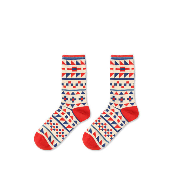 1 Pair British Style Couple Cotton Socks KINIYO Stationery