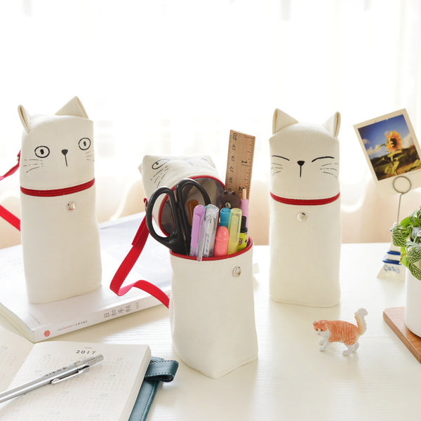 Cartoon kitten Canvas Tube Pen Pencil Case