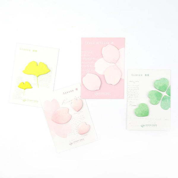 4pcs Flowers & Leaves Series Sticky Notes KINIYO Stationery