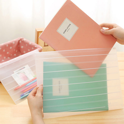 1 Piece A4 Transparent Zipper File Organizer KINIYO Stationery