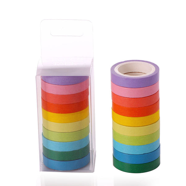10pcs Candy Color Tearable Rainbow Tape