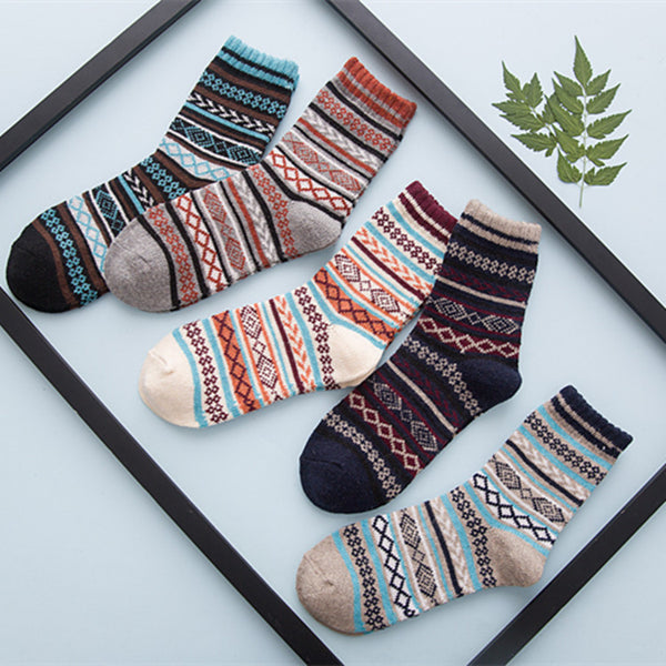 5 Pairs Wool Comfortable Nationality Socks KINIYO Stationery