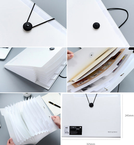 1 Piece 12 Pockets Multi-layer Document Pouch KINIYO Stationery