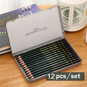 12pcs 2H-9B Painting Sketch Tin Box Pack Pencil