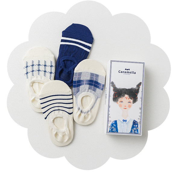 4 Pairs Preppy Style Cotton Gift Socks
