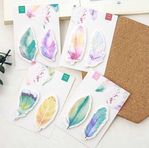 4pcs Feather Series Sticky Note