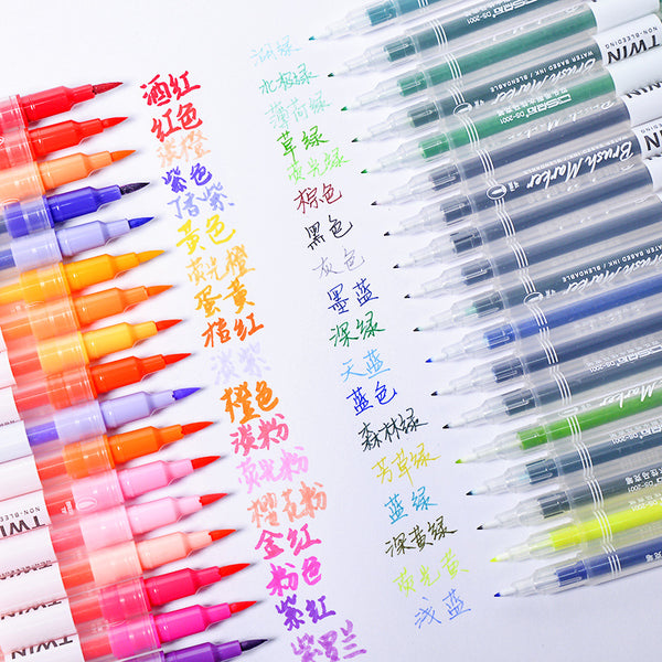 12/24/36pcs Double Head Fineliner Brush Water Color Pens Writing & Drawing kiniyo stationary 4329p