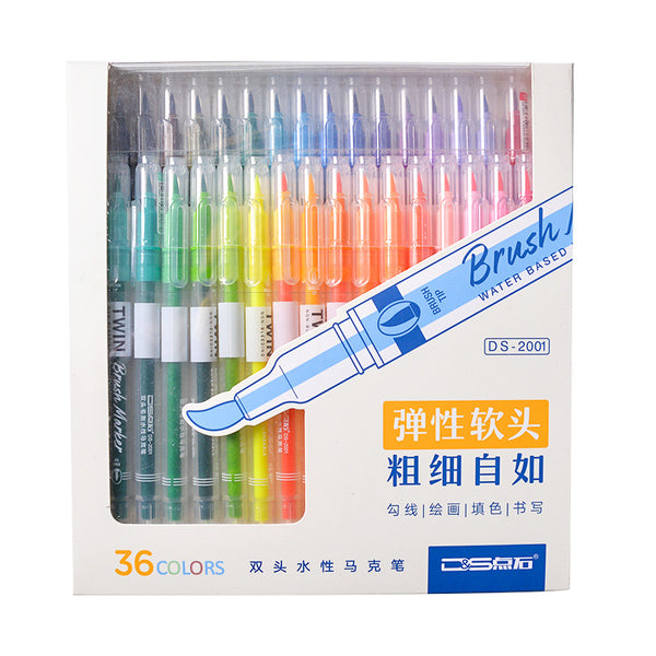 12/24/36pcs Double Head Fineliner Brush Water Color Pens Writing & Drawing kiniyo stationary 4332p