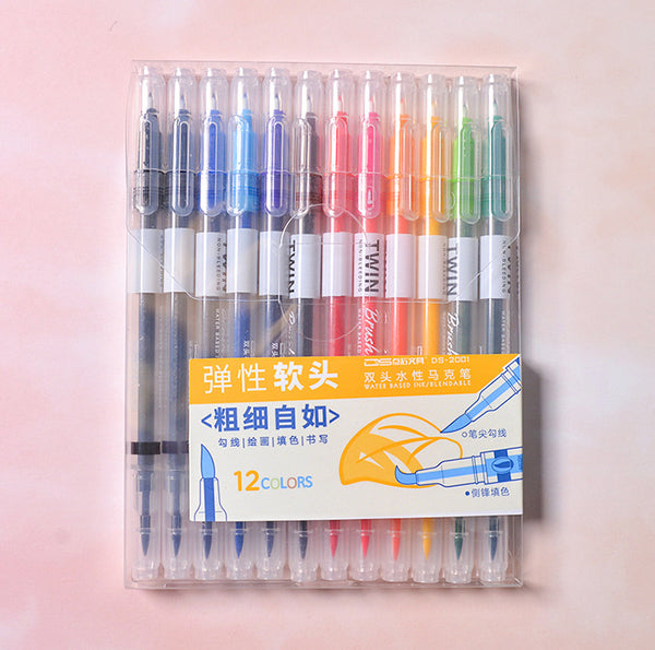 12/24/36pcs Double Head Fineliner Brush Water Color Pens Writing & Drawing kiniyo stationary 4334p