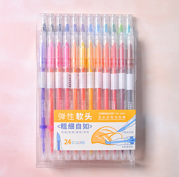 12/24/36pcs Double Head Fineliner Brush Water Color Pens Writing & Drawing kiniyo stationary 4335p