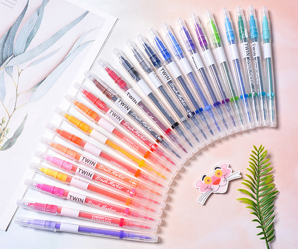 12/24/36pcs Double Head Fineliner Brush Water Color Pens Writing & Drawing kiniyo stationary 4337p
