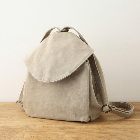 Pure Color Casual Canvas Backpack