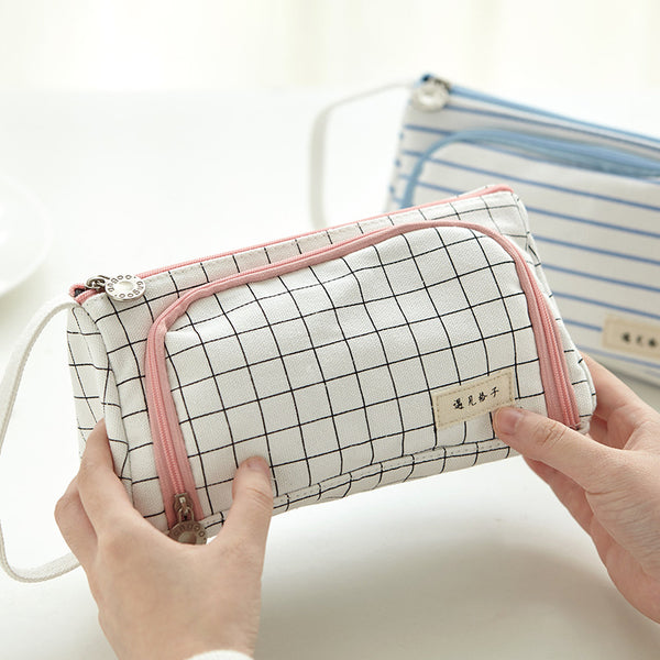 1 Piece Multifunctional Big Volume Canvas Pencil Case KINIYO Stationery