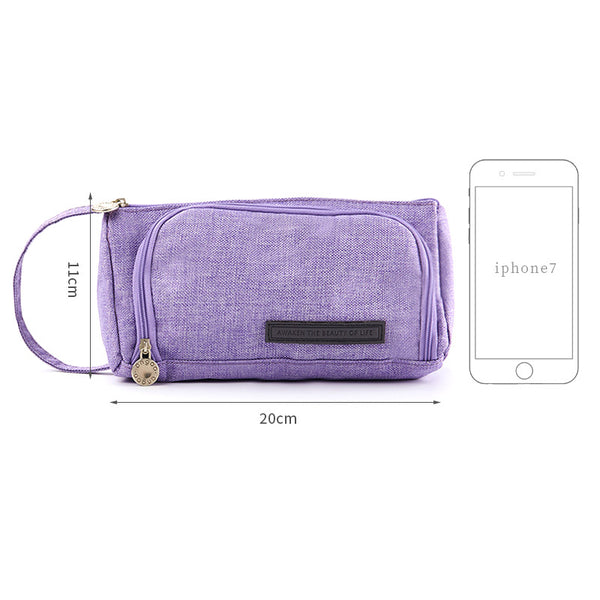 1 Piece Candy Color Canvas Pencil Case