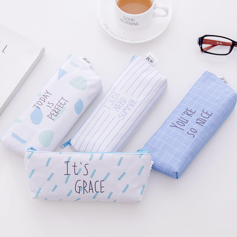1 Piece Blue Island Canvas Pencil Case KINIYO Stationery
