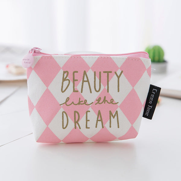 Pink Mini Canvas Coin Purse KINIYO Stationery