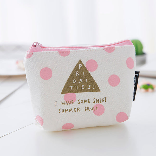 Pink Mini Canvas Coin Purse