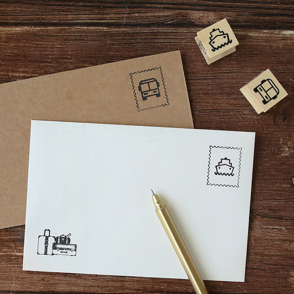 1 Piece Travel Postmark Wooden DIY Stamp