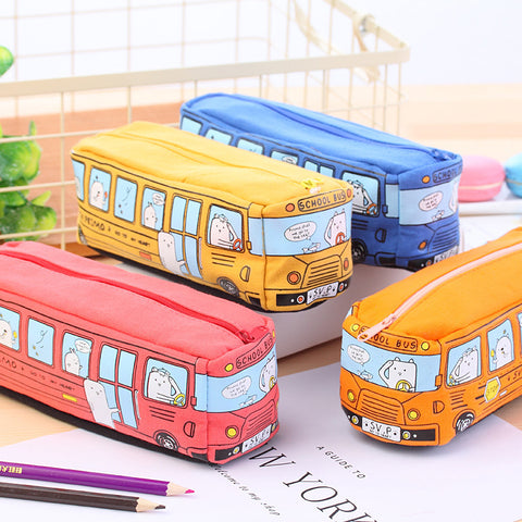 1 Piece Bus Canvas Pencil Case KINIYO Stationery