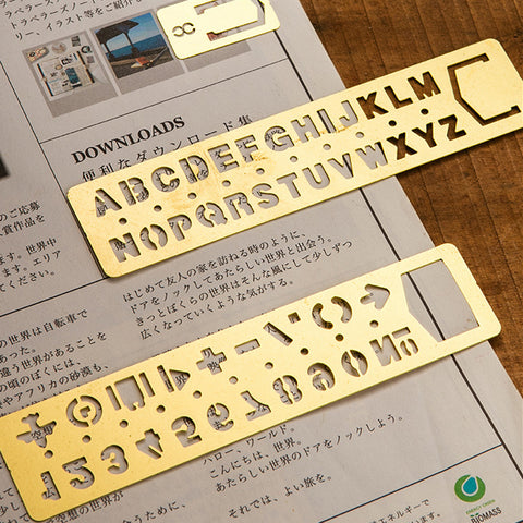 1 Piece Brass Number/Alphabet Ruler KINIYO Stationery