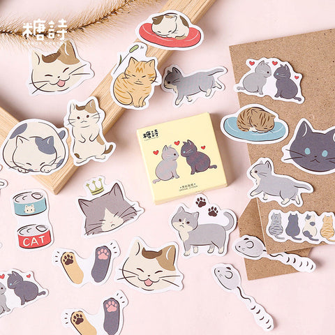 45pcs Pussy Daily Life Sticker Scrapbooking kiniyo stationary 3859p