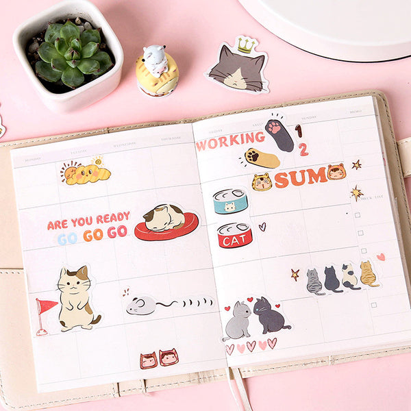 45pcs Pussy Daily Life Sticker Scrapbooking kiniyo stationary 3863p