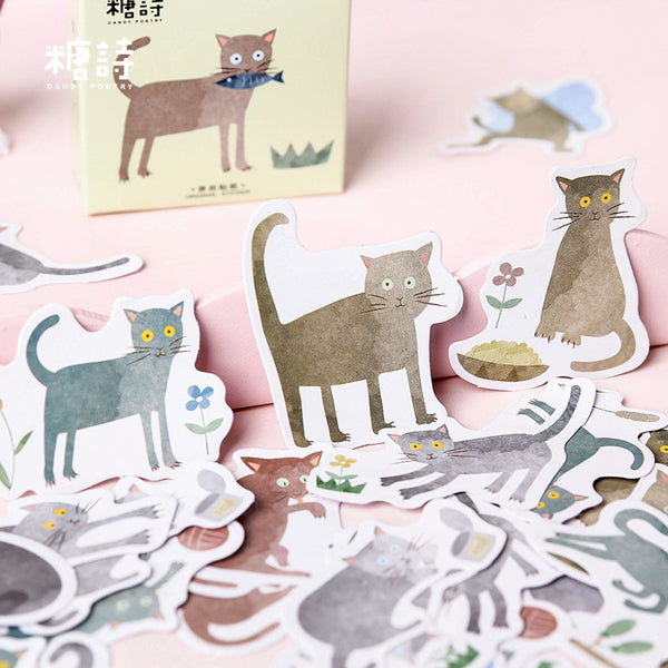 45pcs Terrified Meow Sticker Scrapbooking kiniyo stationary 3869p