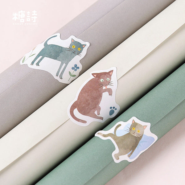45pcs Terrified Meow Sticker Scrapbooking kiniyo stationary 3871p