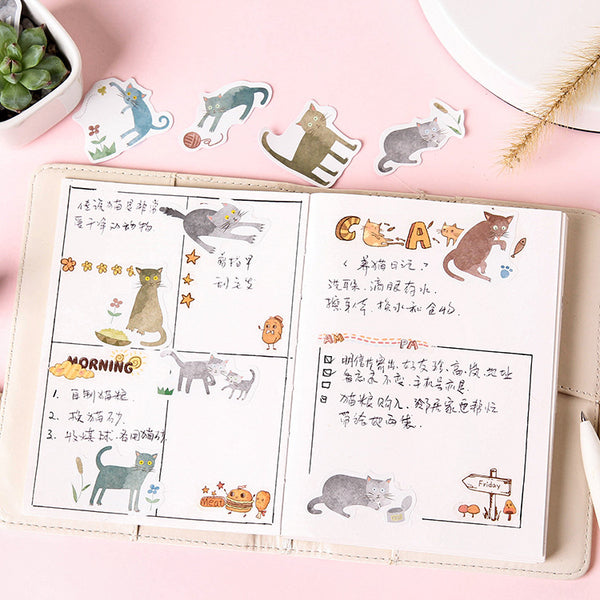 45pcs Terrified Meow Sticker Scrapbooking kiniyo stationary 3872p