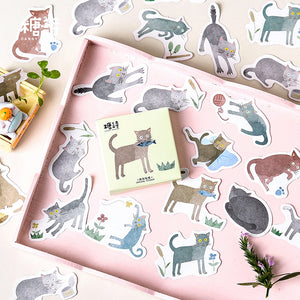 45pcs Terrified Meow Sticker Scrapbooking kiniyo stationary 3873p