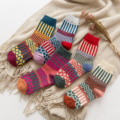 5 Pairs Thick Wool Warm Nationality Socks