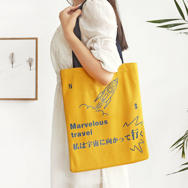 Japanese Slogan Canvas Handbag