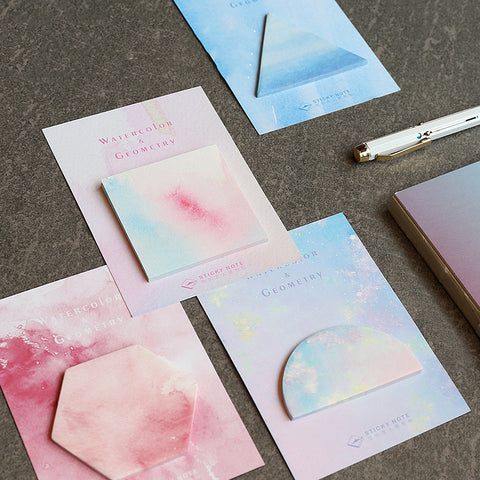 4pcs Watercolor Geometric Sticker Notes Paper kiniyo stationary 4015p