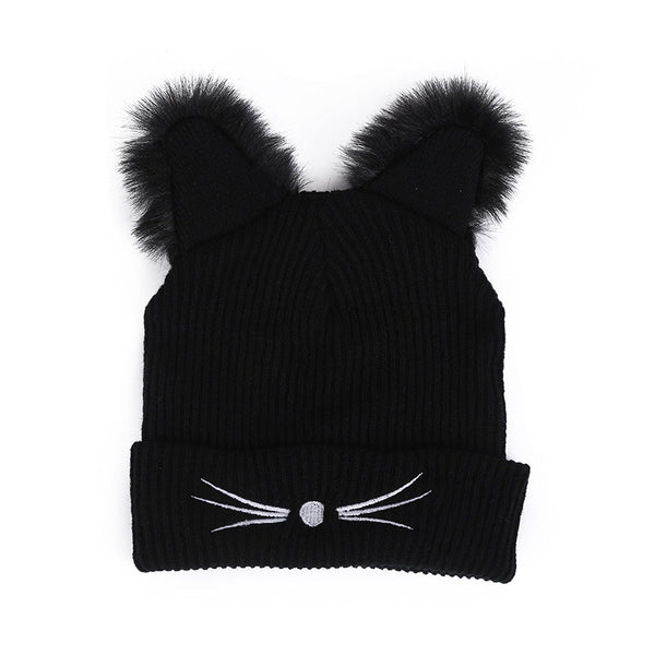 Cute Cat Ears Acrylic Knitted Beanie
