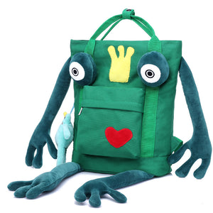 Cute Frog Shape Canvas Backpack