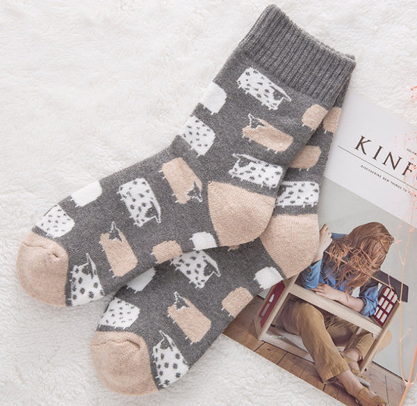1 Pair Thick Comfortable Cartoon Socks KINIYO Stationery