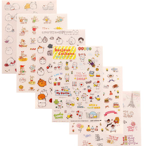 6 Sheets Cartoon Stickers