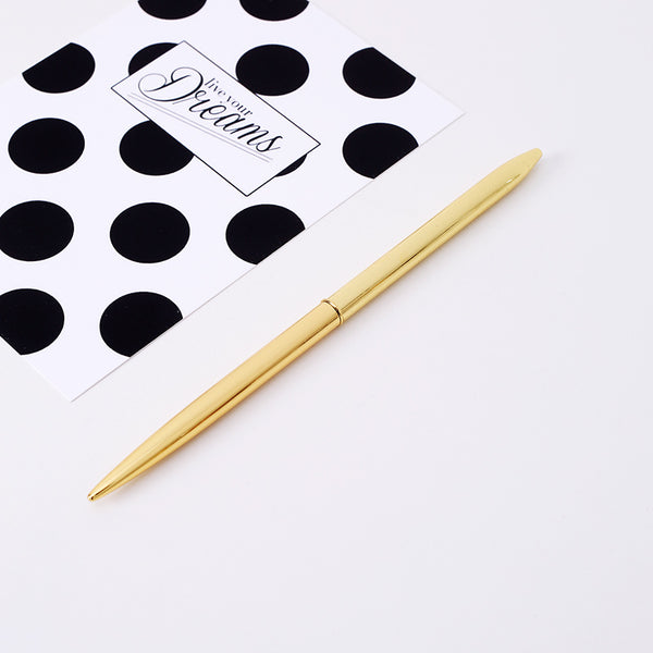 1 Piece Golden/Silver/Rose Gold Ballpoint Pen KINIYO Stationery