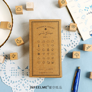 32pcs Weather Wooden Rubber Stamp KINIYO Stationery