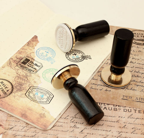 1 Piece Brass Travel Postmark Stamp