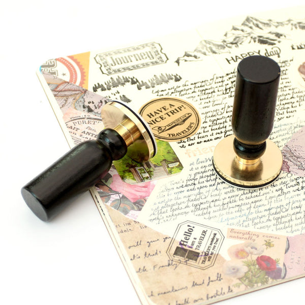 1 Piece Brass Travel Postmark Stamp KINIYO Stationery