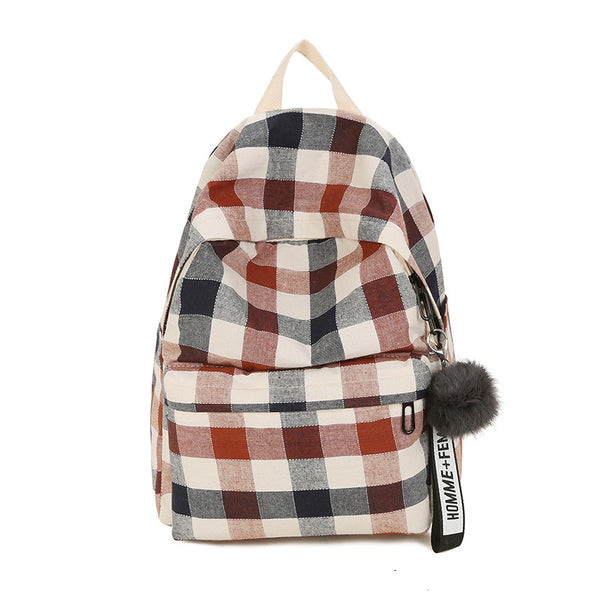 Classical Checked Preppy Style Canvas Backpack
