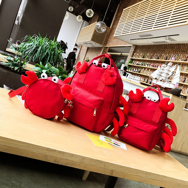 Cartoon Crab Shape Canvas Shoulder Bag/Backpack